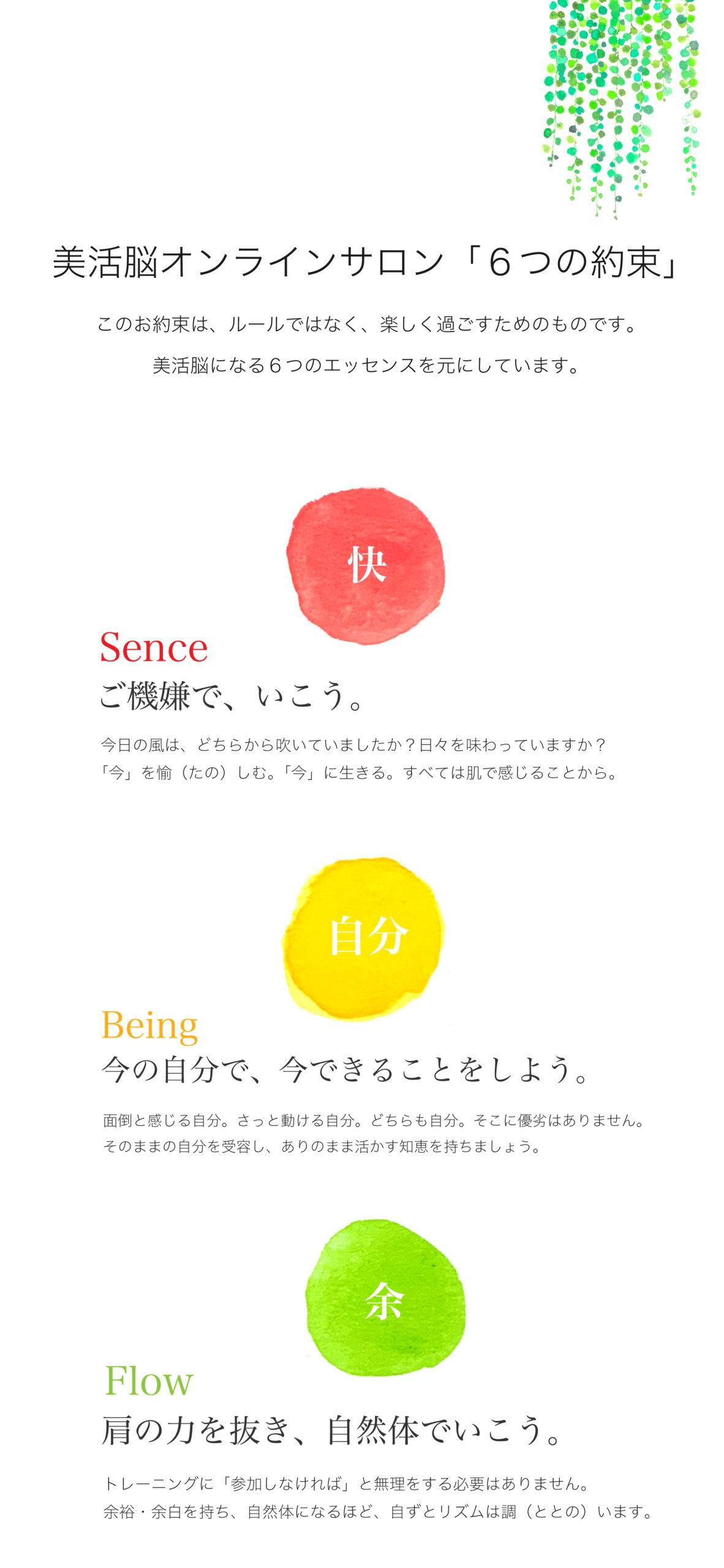 スマホ用ページ:美活脳オンラインサロン「6つの約束」快_自分_余