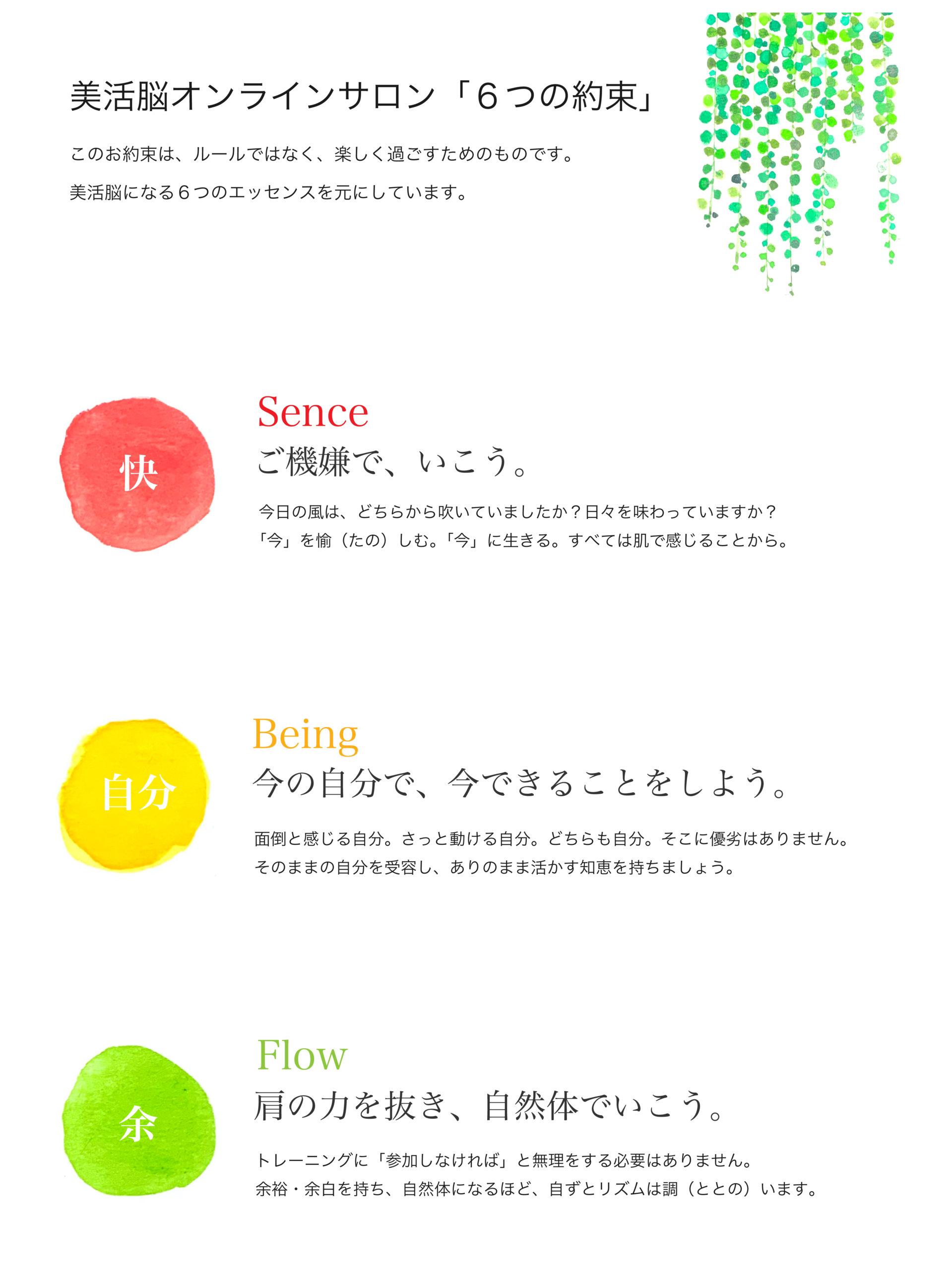 美活脳オンラインサロン「6つの約束」快_自分_余